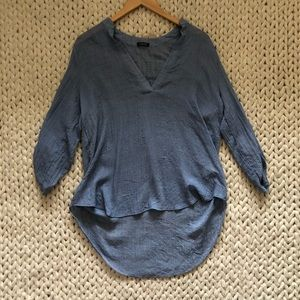 Lovely Day Thin Chambray Roll Sleeve Blouse